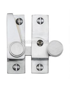 Hook Plate Sash Fastener With Button Knob - Satin Chrome
