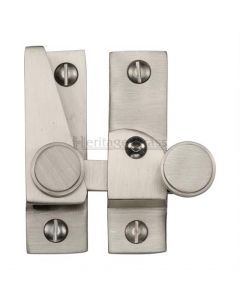 Hook Plate Sash Fastener With Button Knob - Satin Nickel