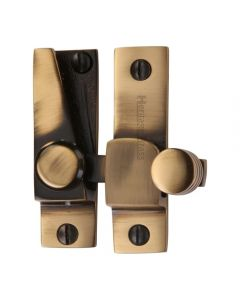 Straight Arm Looking Sliding Sash Window Fastener With Round Knob - Antique Brass