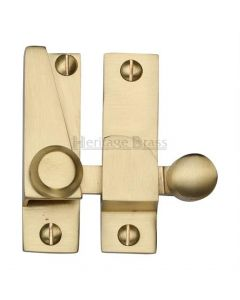 Straight Arm Looking Sliding Sash Window Fastener With Round Knob - Satin Brass