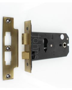 Horizontal Euro Profile Mortice Sash Lock - 152mm Case Depth - Florentine Bronze (Antique Brass Finish)