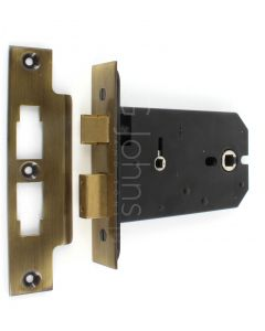Horizontal Mortice Bathroom Lock - 127mm or 152mm Deep Case - Florentine Bronze (Antique Brass Finish)