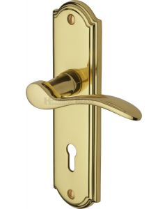 Howard Lever Door Handles On A Backplate - Polished Brass - Suitable For Use With FD30 / FD60 Fire Doors
