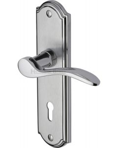 Howard Lever Door Handles On A Backplate - Satin Chrome With Polished Chrome Edge - Suitable For Use With FD30 / FD60 Fire Doors