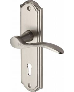 Howard Lever Door Handles On A Backplate - Satin Nickel - Suitable For Use With FD30 / FD60 Fire Doors
