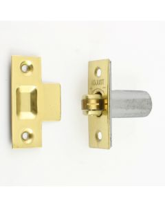 Adjustable Roller Ball Catch - Polished Brass With Brass Wheel