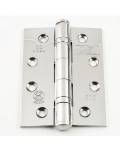 Ball Bearing Grade 13 Fire Rated Hinges - Polished Stainless Steel - 102 x 76mm