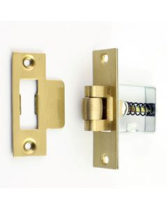 Heavy Duty Adjustable Roller Ball Catch - Brass Forend With Brass Wheel
