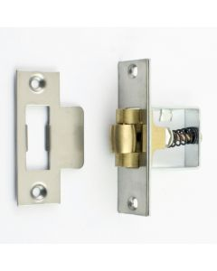Heavy Duty Adjustable Roller Ball Catch - Satin Stainless Steel With Brass Wheel