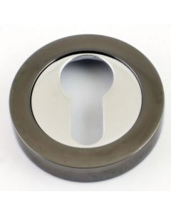 Euro Profile Escutcheon - Dual Finish - Polished Chrome & Black Nickel