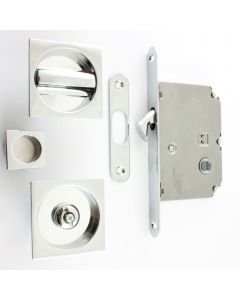 Square Design Bathroom Hook Lock For Sliding Pocket Doors - With Turn And Release - Polished Chrome
