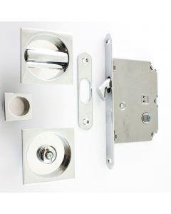Square Design Bathroom Hook Lock For Sliding Pocket Doors - With Turn And Release - Polished Chrome