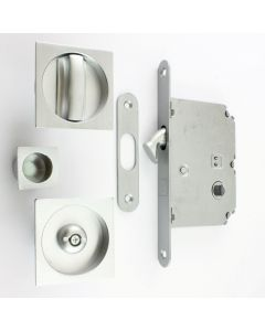 Square Design Bathroom Hook Lock For Sliding Pocket Doors - With Turn And Release - Satin Chrome
