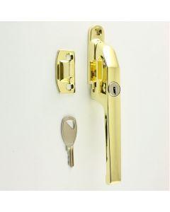 Modern Basta Style Locking Casement Window Fastener - Wedge Pattern - Brass Plated