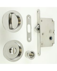 Bathroom Hook Lock For Sliding Pocket Doors - With Turn And Release - Polished Stainless Steel