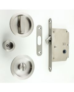 Bathroom Hook Lock For Sliding Pocket Doors - With Turn And Release - Satin Stainless Steel