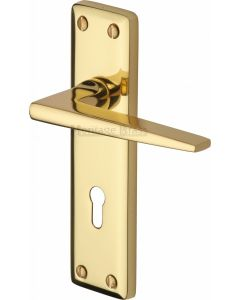 Kendal Lever Door Handles On A Backplate - Polished Brass - Suitable For Use With FD30 / FD60 Fire Doors