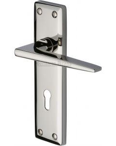 Kendal Lever Door Handles On A Backplate - Polished Nickel - Suitable For Use With FD30 / FD60 Fire Doors