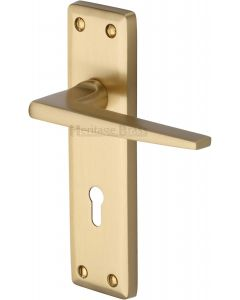 Kendal Lever Door Handles On A Backplate - Satin Brass - Suitable For Use With FD30 / FD60 Fire Doors