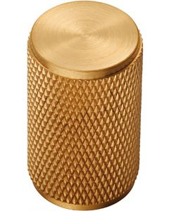 Knurled Cylindrical Cabinet Door Knob - Satin Brass