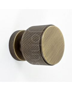knurled-pattern-cylinder-shape-cupboard-knob-antique-brass
