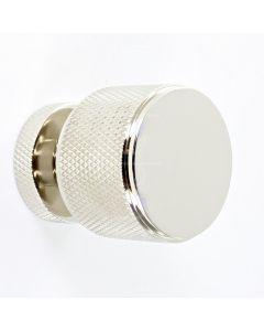 knurled-pattern-cylinder-shape-cupboard-knob-polished-nickel