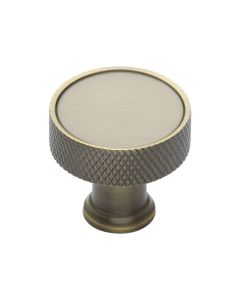 Knurled Pattern Disc Shaped Cupboard Knob - Antique Brass