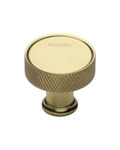Knurled Pattern Disc Shaped Cupboard Knob - Polished Brass