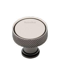 Knurled Pattern Disc Shaped Cupboard Knob - Polished Nickel