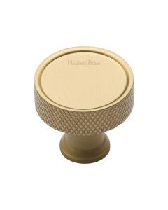 Knurled Pattern Disc Shaped Cupboard Knob - Satin Brass