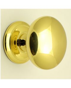Large Plain Style Centre Front Door Knob - 100mm Diameter - Polished Brass