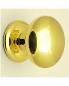 Large Plain Style Centre Front Door Knob - 100mm Diameter - Polished Brass