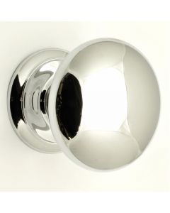 Large Plain Style Centre Front Door Knob - 100mm Diameter - Polished Chrome