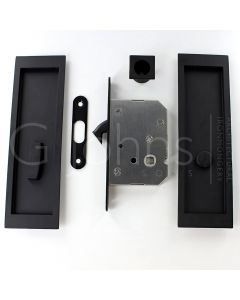 Large Rectangular Shape Inset Style Flush Fitting Handles & Bathroom Hook Lock Set With Turn & Release For Sliding Pocket Doors 210mm x 63mm - Matt Black
