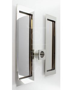 Large Rectangular Shape Inset Design Flush Pull Handle Set For Sliding Pocket Doors - 210mm x 63mm - Polished Stainless Steel