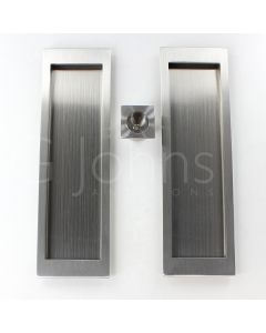 Large Rectangular Shape Inset Design Flush Pull Handle Set For Sliding Pocket Doors - 210mm x 63mm - Satin Stainless Steel