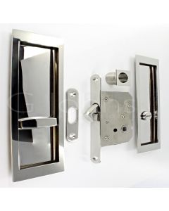 Large Rectangular Shape Inset Style Flush Fitting Handles & Bathroom Hook Lock Set With Turn & Release For Sliding Pocket Doors 210mm x 63mm - Polished Stainless Steel