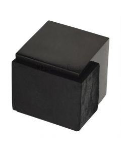 Large Square Floor Mounted Door Stop - Matt Black Bronze