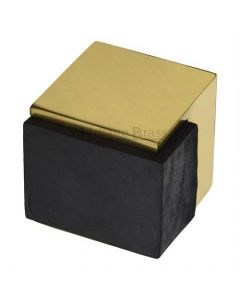 Large Square Floor Mounted Door Stop - Polished Brass