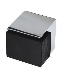 Large Square Floor Mounted Door Stop - Polished Chrome