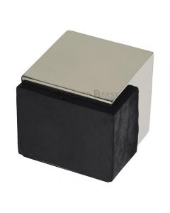 Large Square Floor Mounted Door Stop - Polished Nickel