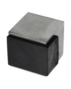 Large Square Floor Mounted Door Stop - Satin Chrome