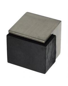Large Square Floor Mounted Door Stop - Satin Brass