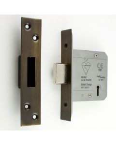 BS Rated - 5 Lever British Standard Kite Marked Mortice Dead Lock - Florentine Bronze - (Antique Finish)