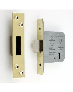 BS Rated - 5 Lever British Standard Kite Marked Mortice Dead Lock - PVD Brass