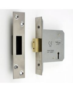 Architectural Quality 3 Lever Mortice Dead Lock - Satin (Brushed) Stainless Steel