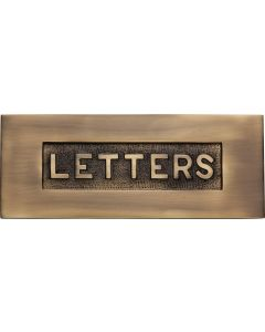 Letter Plate With Embossed LETTERS On Flap - 254mm x 101mm - Antique Brass