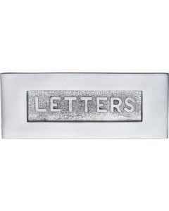 "Letter Plate With Embossed ""LETTERS"" On Flap - 254mm x 101mm - Satin Chrome"