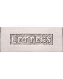 "Letter Plate With Embossed ""LETTERS"" On Flap - 254mm x 101mm - Satin Nickel"