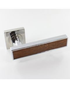 Torrino Square Rose Lever Handles - Chrome With Rustic Wood Insert